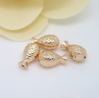 10 pcs 24k gold plated cute fish bead brass spacer beads  brass caps brass connector