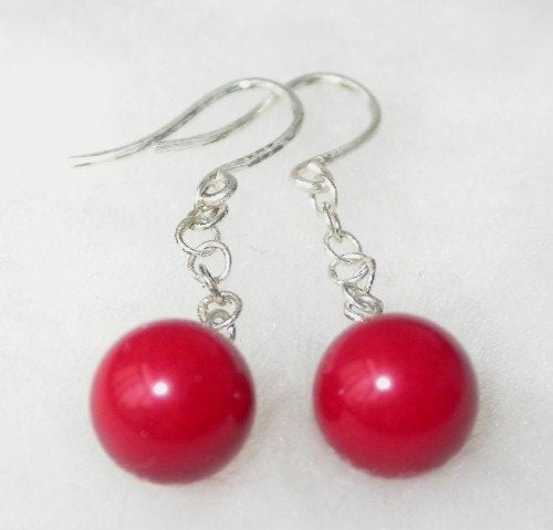Beauty 8mm red round coral silver hook dangle earring