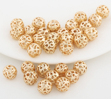 10 pcs 24k gold plated brass hollow beads brass caps spacer Bronze Bead Caps Filigree Bead Caps