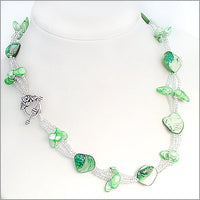 "18"" green shell pearl necklace silver clasp"