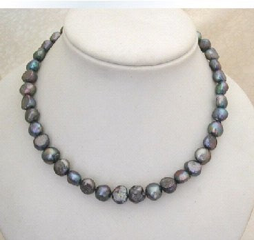 "18"" 9-10mm peacock color pearl necklace"