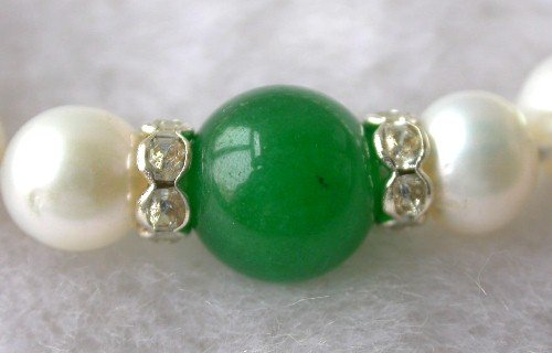 Beauty 7.5'' 7-8mm white pearl green jade bracelet