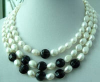 3 strands white baroque pearl and agate bead necklace