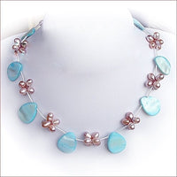 "17"" pink pearl blue shell beads necklace"
