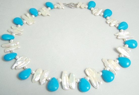 white biwa pearl and turquoise bead necklace