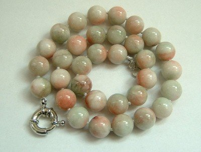Graceful 12mm AA green Jade Bead Necklace