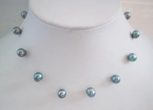 "16"" 9mm gray pearl necklace"