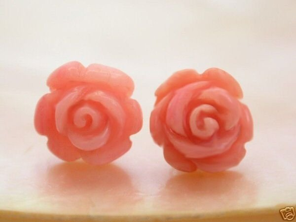 Natural pink flower coral earrings 14K stud