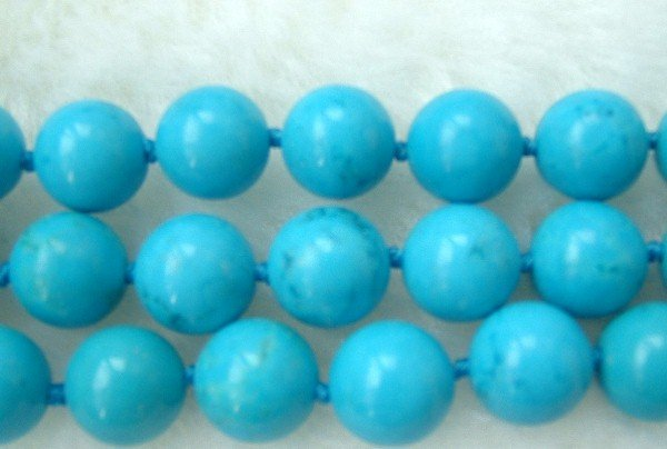 3 strands sky-blue turquoise beads necklace SS925 clasp