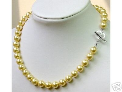 Charming 10mm sea shell Pearl Necklace 925s