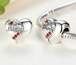 Sterling 925 silver charm heart mom bead pendant fits Pandora charm and European charm bracelet
