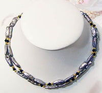 2 strand black biwa freshwater pearl necklace