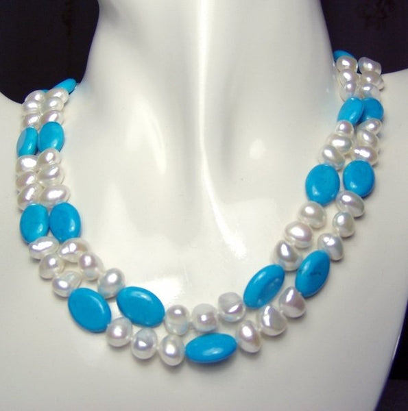 2 strands white pearl & turquoise necklace