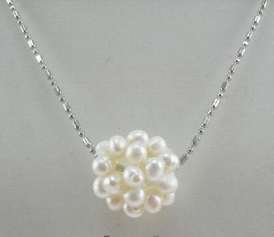 16'' rice pearl ball necklace silver chain