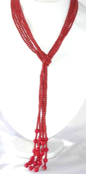 "47"" 3-strands red round coral beads necklace"