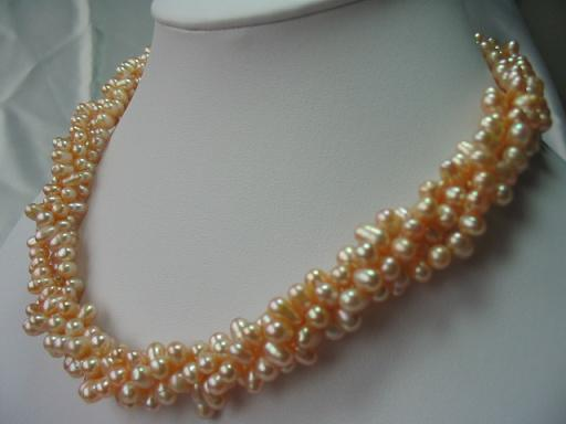 "17"" 6*7mm 3 strands pink F/W pearl necklace"