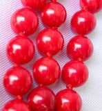 "14K 17"" 8mm red round coral beads necklace"