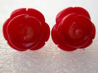 14K 12mm red rose coral earring