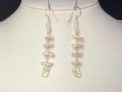 Earrings Biwa Pearls 12mm White 925 Dangle