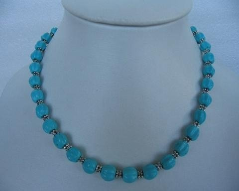 "17.5"" 8mm natural turquoise carved ball necklace"