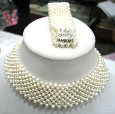 9 strands white pearl weave necklace bracelet set