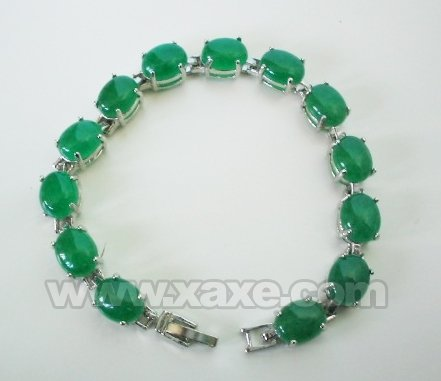 7'' 10mm green jade bracelet