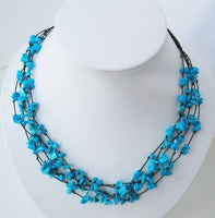17.5'' blue turquoise chips multistrands necklace