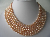 "116"" super lustrous pink FW pearl necklace"