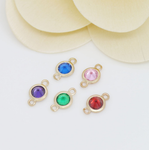 5 x 24k gold plated round brass connector mix color glass zirconia