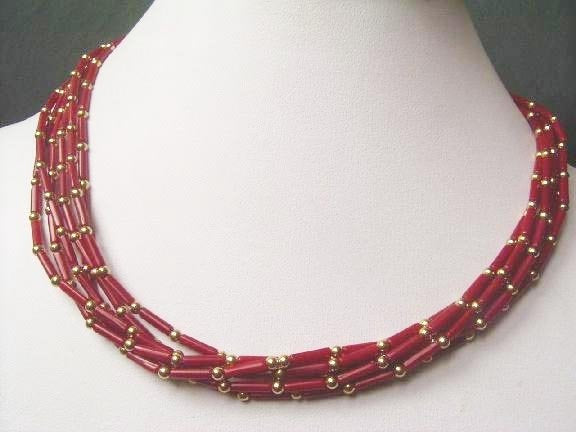 18'' 6rows red coral tube gild bead necklace