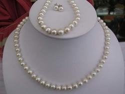 8mm White pearl necklace match bracelet & earring