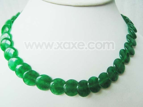 "17"" 12-13mm coin shape green jade bead necklace"