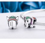Sterling 925 silver charm cute elephant pendant fits Pandora charm and European charm bracelet