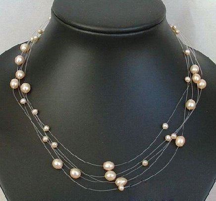 "16"" 5 strands pink pearl necklace"