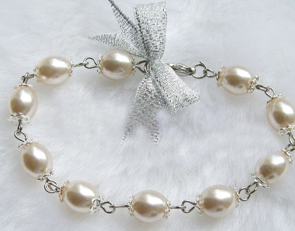 UNIQUE WHITE Genuine Cultured Pearl Bracelet