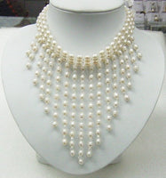 5-6mm white Pearls and Crystal necklace