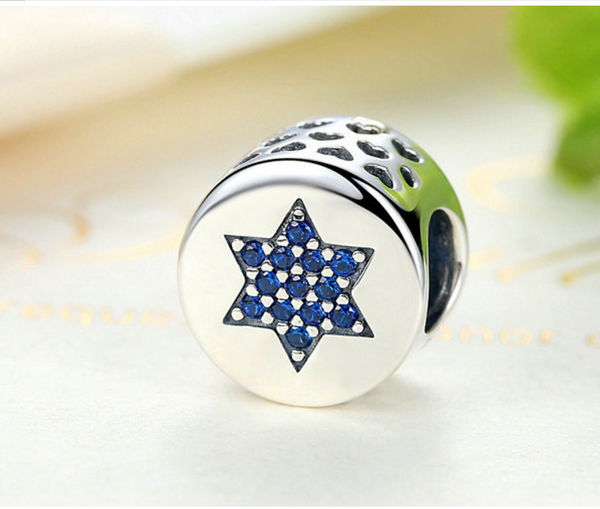 Sterling 925 silver charm the blue star of David bead pendant fits Pandora charm and European charm bracelet
