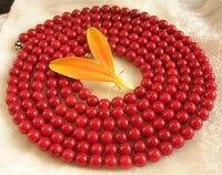 43'' 6mm red coral round beads long necklace 925 silver
