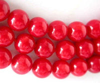 "17""-19"" 3-rows 8mm red round coral agate clasp"