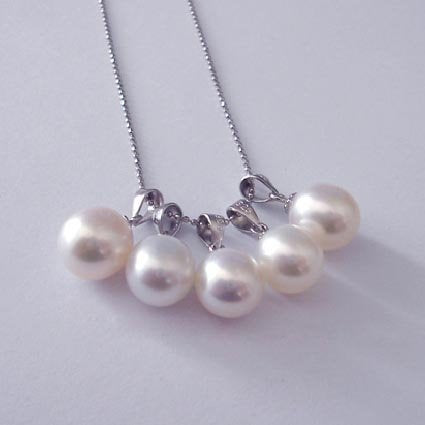 Unique design 9mm white pearl pendants 925 silver