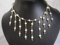 "Beatiful! 16"" hand-knitted white pearl & crystal necklace"