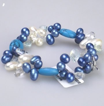 "7"" blue white pearl and turquoise bracelet"