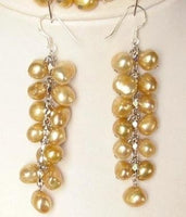 Earings Dangle FW Golden Yellow Pearls 925 SIlver