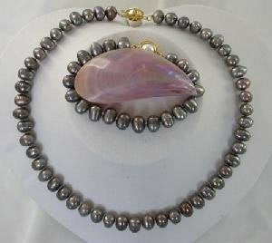 "Beautiful! 17"" 6*8-6*9mm black cultured freshwater Pearl Necklac"