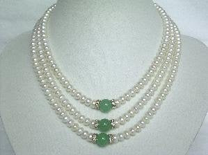 "Beautiful! 15""-17"" 3rows white cultured FW pearl&jade necklace"