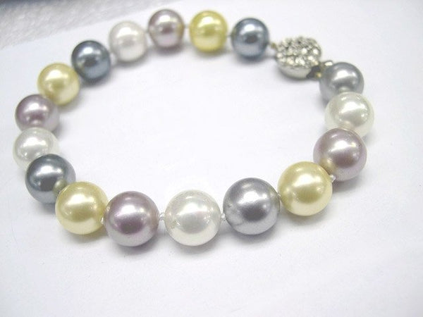 Excelent 10mm multicolor south sea shell Pearl bracelet