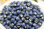 50 x blue hollow ceramic beads