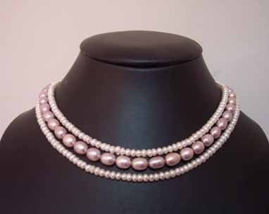 3rows Genuine White Lavender Cultured Pearl Necklace
