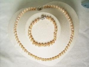 "Beautiful! 17"" 5-6mm pink cultured FW pearl necklace&7"" bracelet"