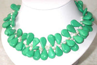 Elegant 16'' greenish seed turquoise white pearl necklace